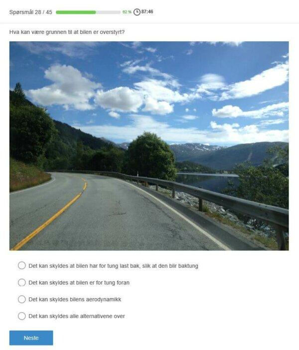 spørsmål fra teoriprøven