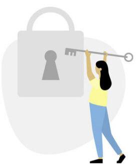 dame som låser opp en lås for å illustrere at hun kjøper tilgang til teoritestene